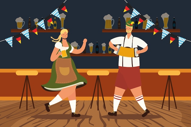 Couple allemand portant costume tyrolien, boire des bières et jouer à l'accordéon vector illustration design