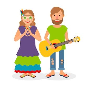 Couple d'amour hippie