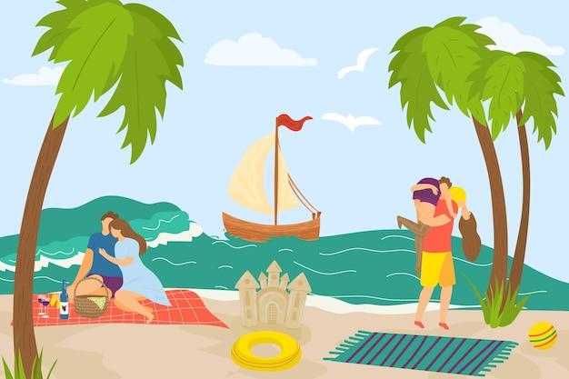 Couple d'amour à la mer d'été, illustration vectorielle. caractère heureux homme femme personnes en vacances, vacances à la plage tropicale. voilier dans l'eau de mer