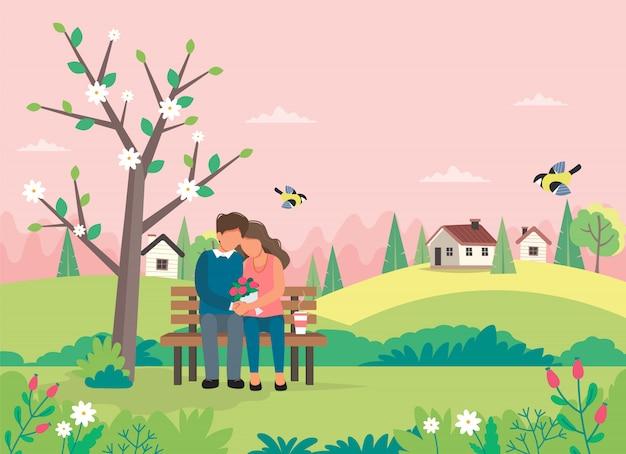 Couple d'amoureux assis sur le banc avec paysage de printemps.