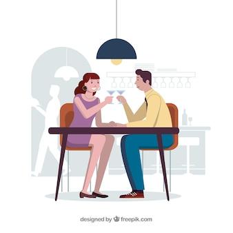 Couple d'amoureux au dîner romantique