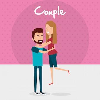Couple d'amoureux avatars personnages