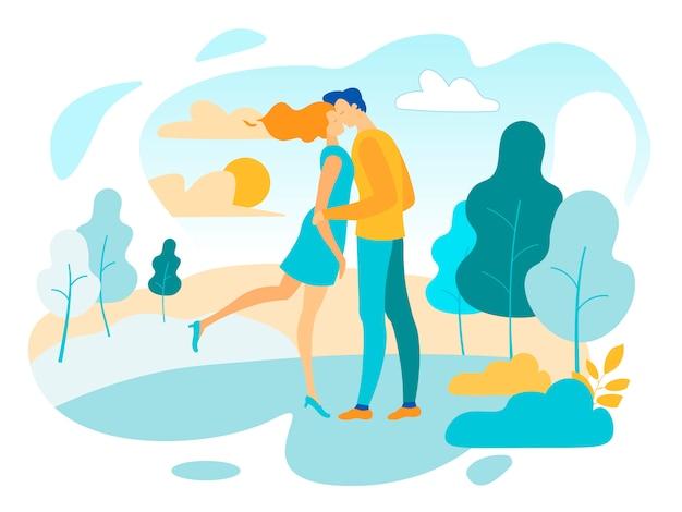 Couple amoureux, baisers, et, étreindre, dans parc, dessin animé