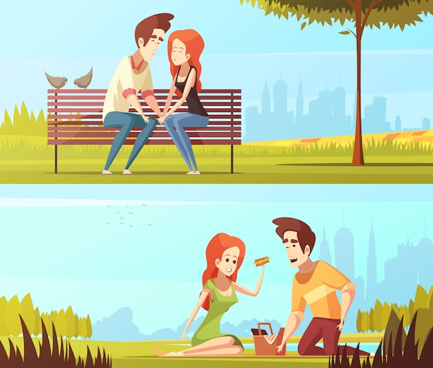 Couple amoureux bannières horizontales