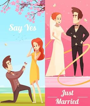 Couple amoureux bannières verticales