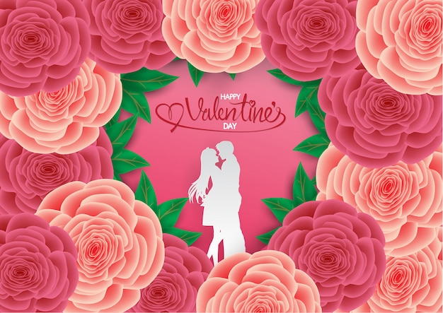 Couple amoureux câlin en forme de coeur rose