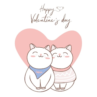 Couple amoureux de chat avec grand coeur pour la saint-valentin.