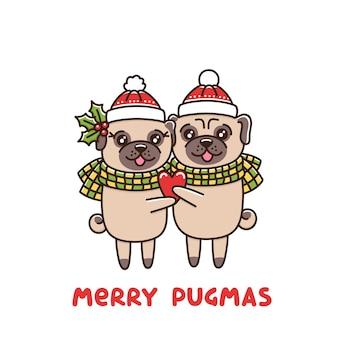 Couple amoureux des chiens de race carlin câlin dans des chapeaux et des écharpes identiques avec le cœur à la main