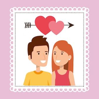 Couple d'amoureux avec coeur et flèche