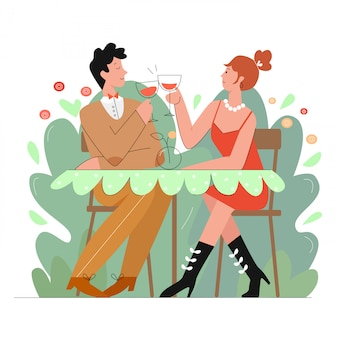 Couple d'amoureux dans l'illustration de caractère de ligne scène restaurant.