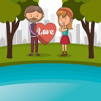 Couple amoureux dans le lac