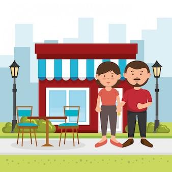 Couple amoureux dans la rue