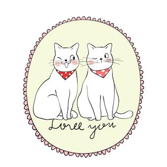 Couple amoureux de chat si doux pour la Saint-Valentin