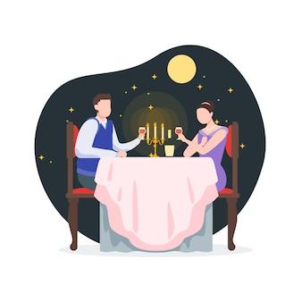 Couple d'amoureux dîner avec des étoiles