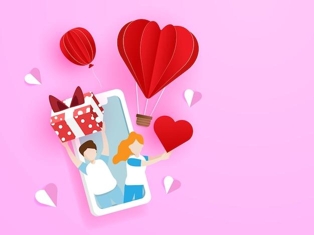 Couple d'amoureux donnant boîte-cadeau et coeur rouge du téléphone mobile, illustration de carte de voeux de concept d'amour saint-valentin