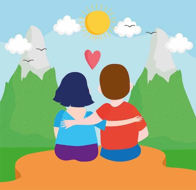 Couple amoureux extérieur