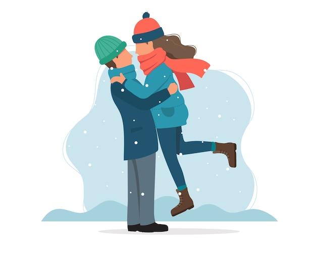 Couple d'amoureux en hiver.