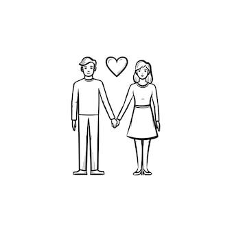 Couple amoureux icône de doodle contour dessiné à la main