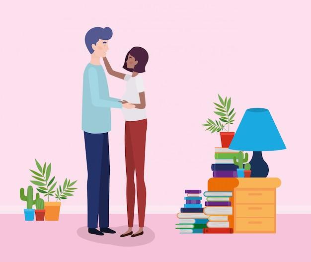 Couple d'amoureux interracial dans la maison