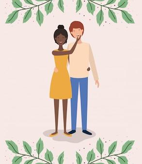 Couple d'amoureux interracial avec personnages en couronne leafs
