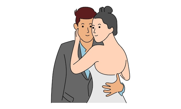 Couple amoureux isolé sur blanc
