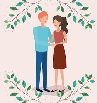 Couple d'amoureux avec leafs couronnes