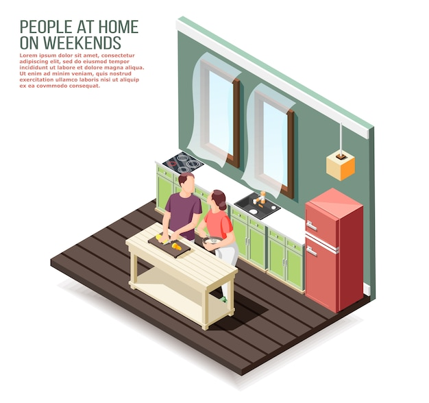 Couple d'amoureux à la maison dans la cuisine pendant la cuisson du dîner au week-end composition isométrique