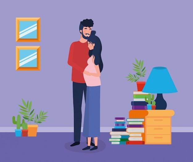 Couple amoureux à la maison