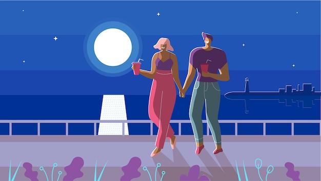 Couple amoureux marchant sous le dessin animé au clair de lune