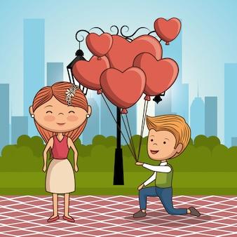 Couple amoureux sur parc