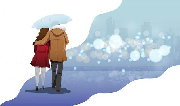 Couple d'amoureux à pied
