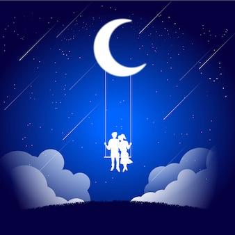 Couple d'amoureux s'installant ensemble sur une balançoire sous la lune.