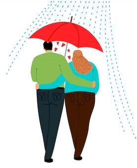 Couple amoureux sous parapluie