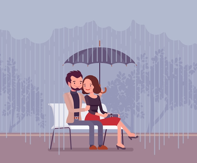 Couple amoureux sous un parapluie