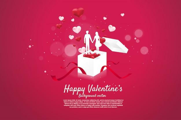 Couple amoureux, tenant main, debout, sur, ouvert, boîte cadeau, grand
