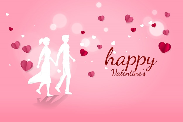 Couple amoureux, tenant main, marche, à, voler, fond papier, coeur