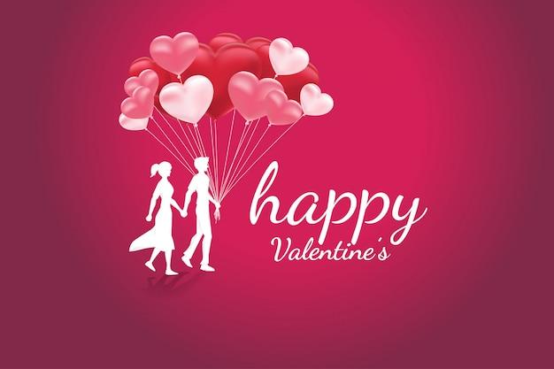 Couple d'amoureux tenant la main qui marche avec fond de coeur ballon