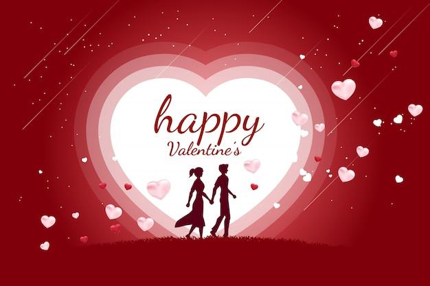 Couple d'amoureux tenant la main qui marche avec fond coeur battant