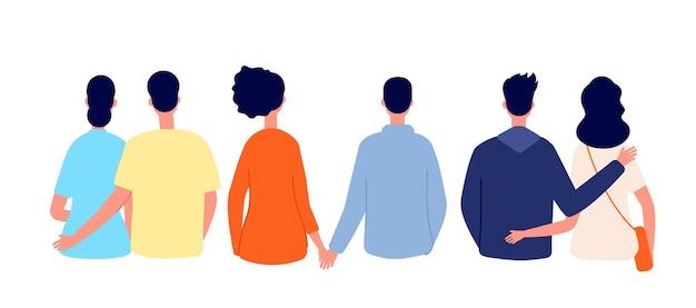 Couple d'amoureux vue arrière. couples isolés, amoureux se tenant ensemble. homme femme voyage ou marche, dessin animé ensemble de vecteurs de personnes romantiques. femme et homme couple amour illustration