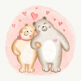 Couple d'animaux aquarelle saint valentin