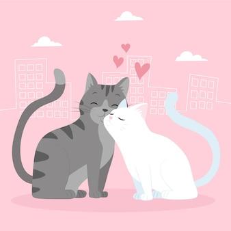 Couple d'animaux dessinés à la main pour la saint-valentin