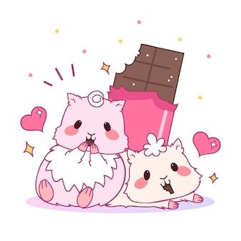 Couple d'animaux mignon saint valentin avec hamsters