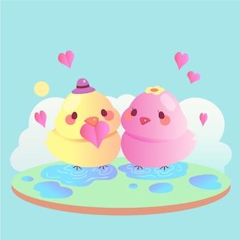 Couple d'animaux mignon saint valentin avec oiseaux
