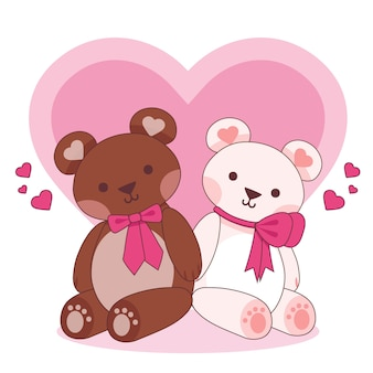 Couple d'animaux mignon saint valentin avec des ours