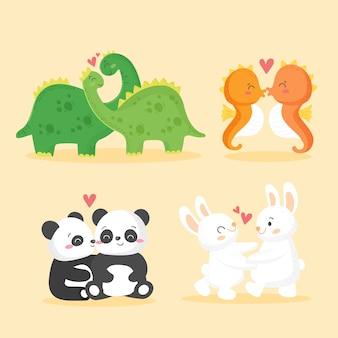 Couple d'animaux mignon saint valentin