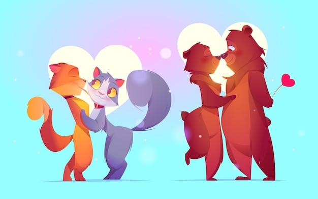 Couple d'animaux plat saint valentin