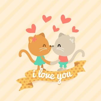 Couple d'animaux de la saint-valentin avec des chats