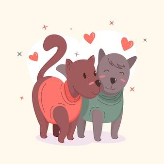 Couple d'animaux de la saint-valentin avec des chiens