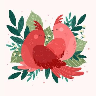 Couple d'animaux de la saint-valentin dessinés à la main