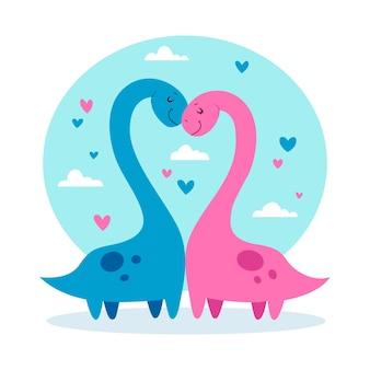 Couple d'animaux de la saint-valentin avec des dinosaures